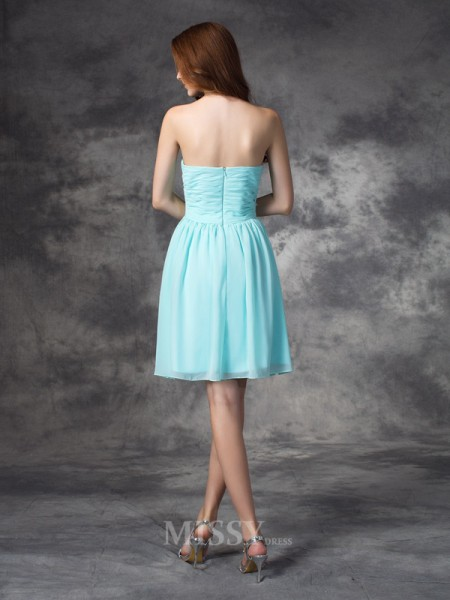 A-line/Princess Sweetheart Mini Chiffon Bridesmaid Dress With Beading Ruffles