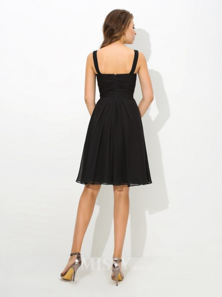 A-Line/Princess V-neck Knee-Length Chiffon Bridesmaid Dress With Sequin Pleats