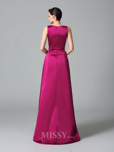 A-Line/Princess Straps Asymmetrical Satin Bridesmaid Dress With Ruched