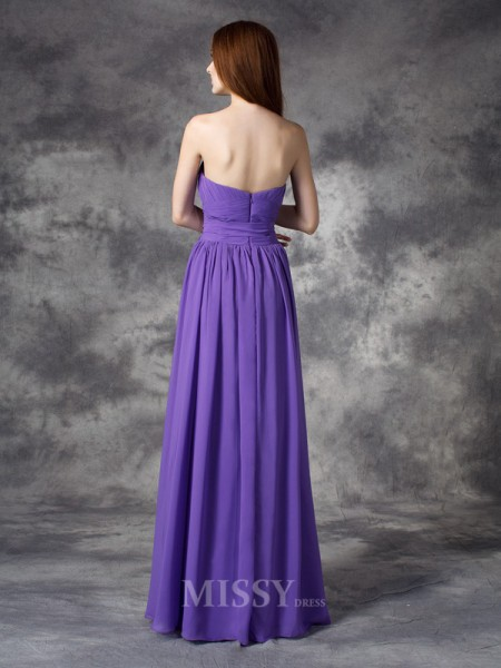 A-line/Princess Sweetheart Floor-length Chiffon Bridesmaid Dress With Applique Ruffles