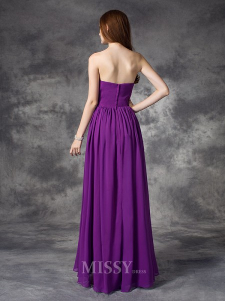 A-line/Princess Sweetheart Asymmetrical Chiffon Bridesmaid Dress With Rhinestone Ruffles