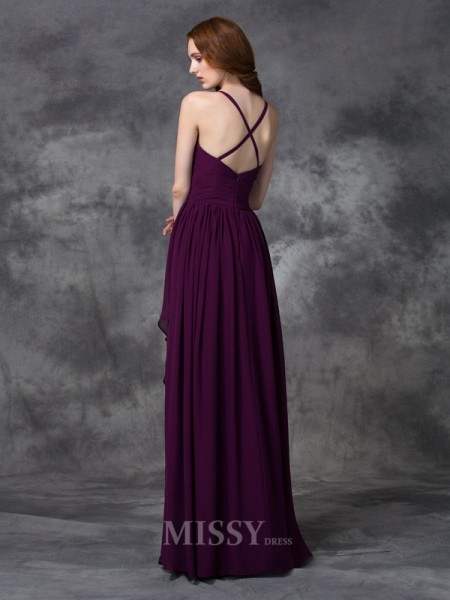 A-line/Princess Spaghetti Straps Floor-length Chiffon Dress With Embroidery Ruffles