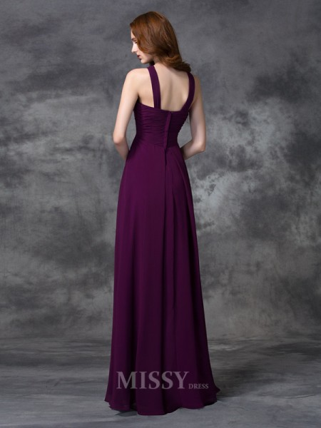 A-line/Princess Straps Floor-length Chiffon Bridesmaid Dress With Sequin Ruched