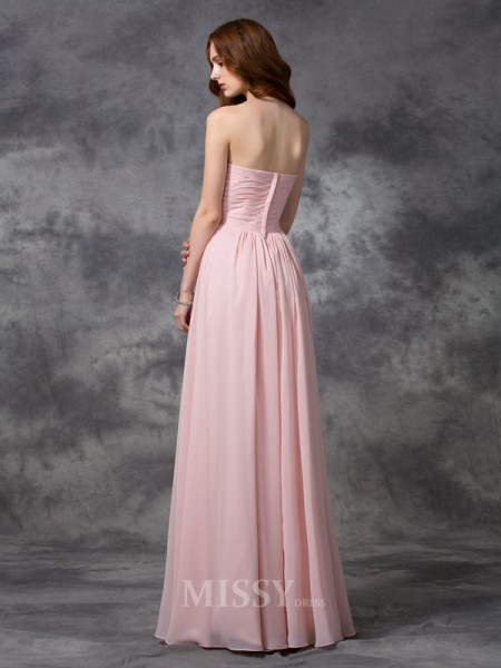 A-line/Princess Sweetheart Floor-length Chiffon Bridesmaid Dress With Beading Ruched