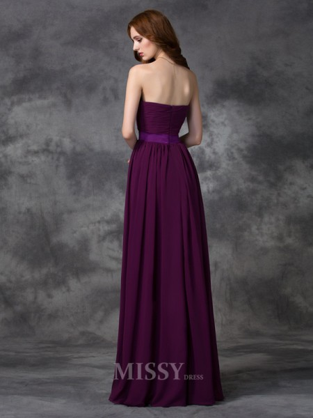 A-line/Princess Chiffon Sweetheart Floor-length Bridesmaid Dress With Beading Ruched