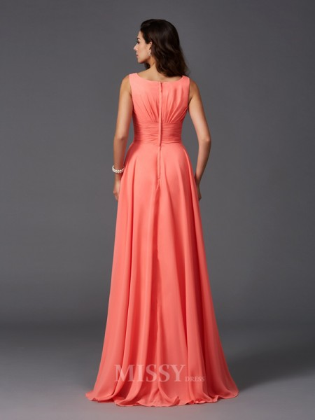A-Line/Princess Scoop Sweep/Brush Train Chiffon Bridesmaid Dress With Lace Ruffles