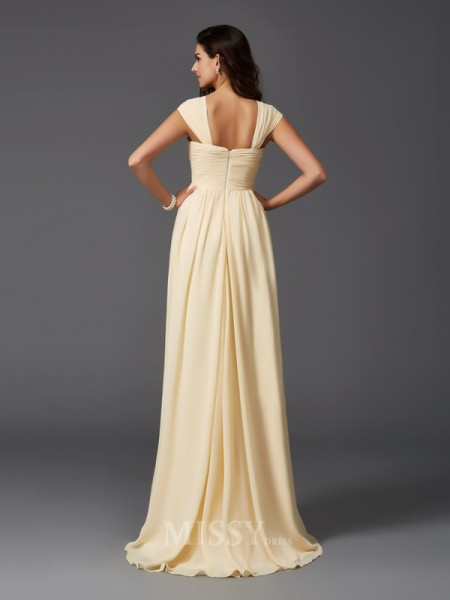 A-Line/Princess Straps Sweep/Brush Train Chiffon Bridesmaid Dress With Embroidery Ruffles