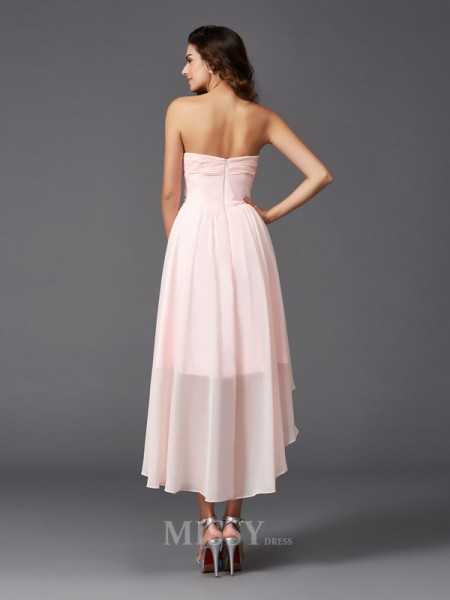 A-Line/Princess Sweetheart Asymmetrical Chiffon Bridesmaid Dress With Ruffles