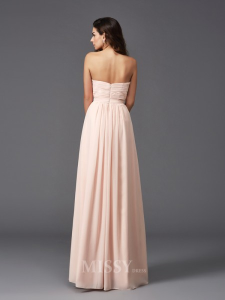 A-Line/Princess Sweetheart Floor-Length Chiffon Bridesmaid Dress With Beading Pleats