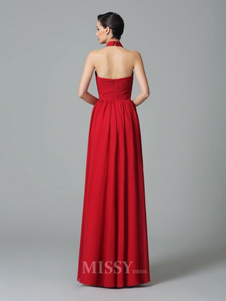 A-Line/Princess Halter Floor-Length Chiffon Bridesmaid Dress With Lace Ruffles