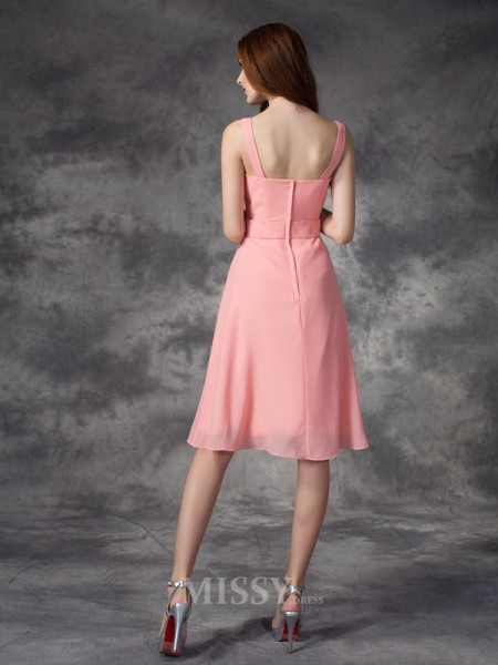 A-line/Princess Straps Knee-Length Chiffon Bridesmaid Dress With Sash Rhinestone