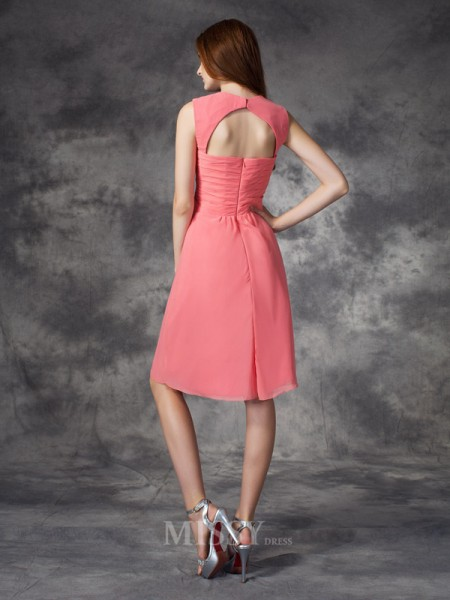 A-line/Princess Straps Knee-Length Chiffon Bridesmaid Dress With Ruffles Ruched