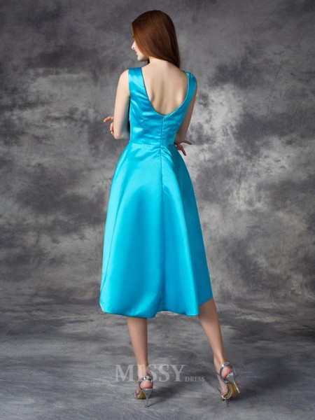 A-line/Princess Bateau Asymmetrical Satin Bridesmaid Dress With Beading