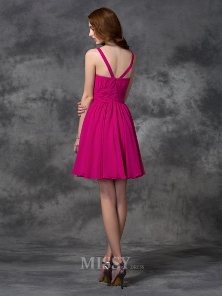 A-line/Princess Square Mini Chiffon Bridesmaid Dress With Beading