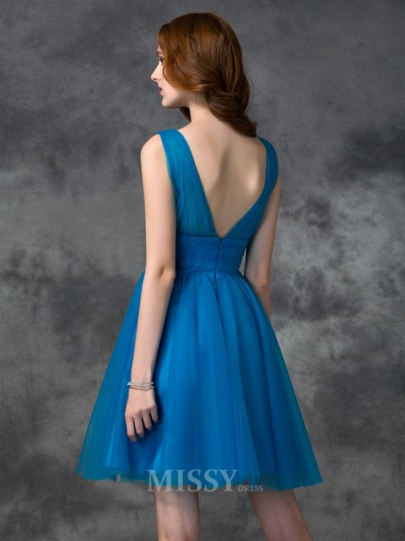 A-line/Princess V-neck Mini Satin Bridesmaid Dress With Beading