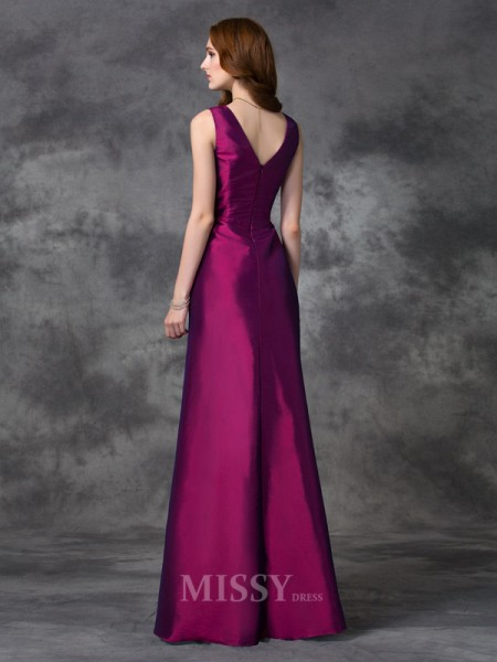 A-line/Princess V-neck Floor-length Taffeta Bridesmaid Dress With Beading Sash/Ribbon/Belt