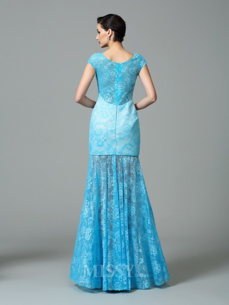 Sheath/Column Scoop Short Sleeves Floor-Length Lace Dress With Embroidery