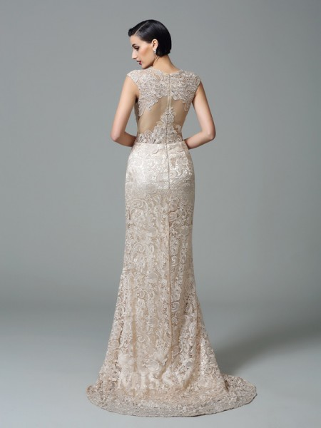Sheath/Column Straps Sweep/Brush Train Lace Dress With Beading