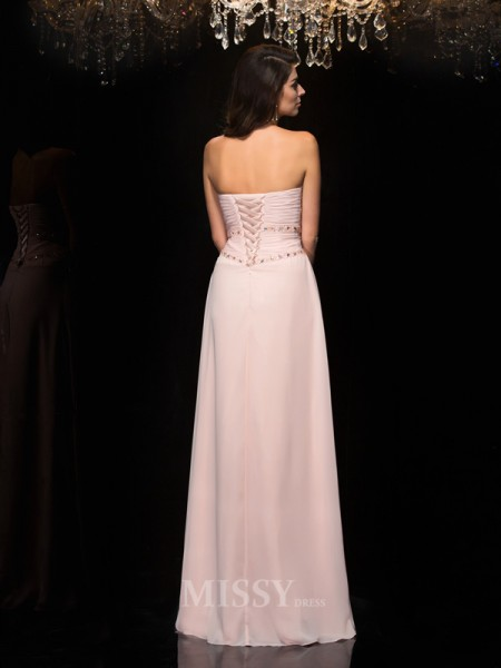A-Line/Princess Sweetheart Chiffon Floor-Length Dress With Ruffles Beading