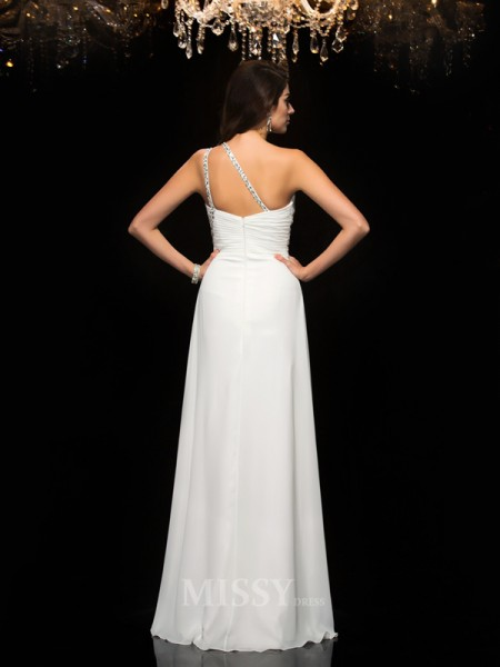 A-Line/Princess One-Shoulder Chiffon Floor-Length Dress With Beading