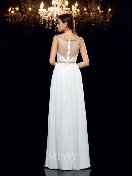 A-Line/Princess Sheer Neck Chiffon Floor-Length Dress With Beading