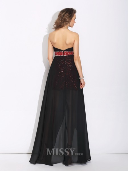 A-Line/Princess Sweetheart Sequin Asymmetrical Chiffon Dress With Lace