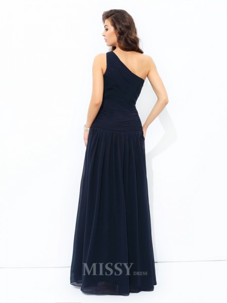 A-Line/Princess One-Shoulder Chiffon Floor-Length Dress With Beading Applique