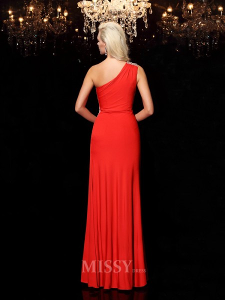 Sheath/Column One-Shoulder Floor-Length Spandex Dress With Sash
