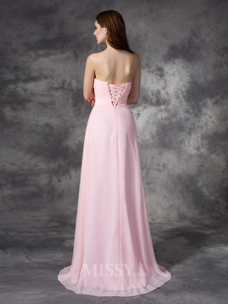 A-line/Princess Sweetheart Sweep/Brush Train Chiffon Dress With Embroidery Ruched