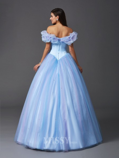 Ball Gown Off-the-Shoulder Net Floor-Length Dress With Pleats Beading