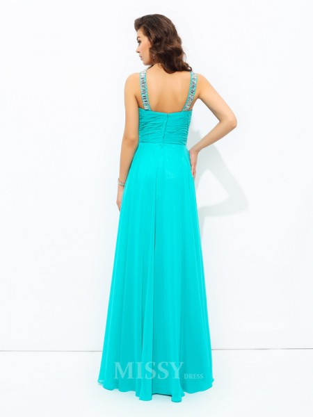A-Line/Princess V-neck Floor-Length Chiffon Dress With Sash Paillette