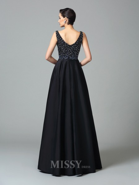 A-Line/Princess Straps Floor-Length Taffeta Dress With Pleats Beading