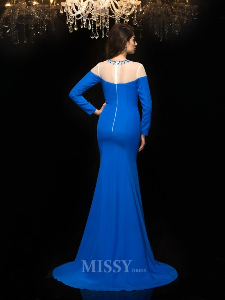 Sheath/Column Jewel Long Sleeves Chiffon Floor-Length Dress With Pleats Beading