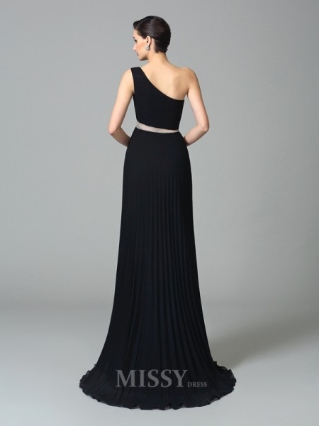 A-Line/Princess One-Shoulder Floor-Length Chiffon Dress With Sash Pleats