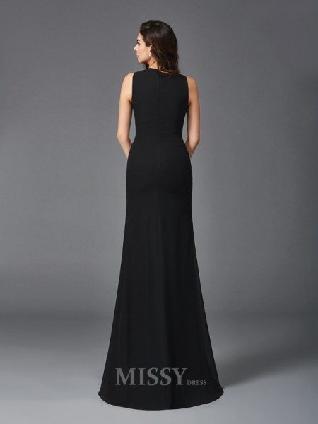 Sheath/Column Scoop Chiffon Floor-Length Dress With Beading