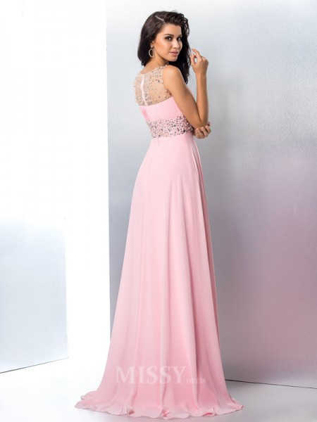 A-Line/Princess Sheer Neck Chiffon Sweep/Brush Train Dress With Rhinestone