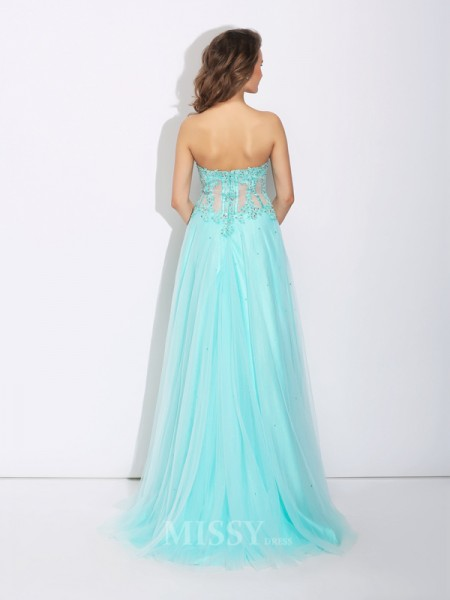 A-Line/Princess Sweetheart Lace Sweep/Brush Train Net Dress With Sequin