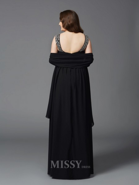 A-Line/Princess Scoop Floor-Length Chiffon Plus Size Dress With Ruched Rhinestone