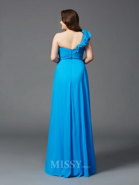A-Line/Princess One-Shoulder Floor-Length Chiffon Plus Size Dress With Lace Rhinestone