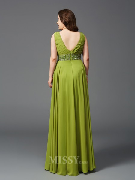 A-Line/Princess Straps Floor-Length Chiffon Plus Size Dress With Embroidery Rhinestone