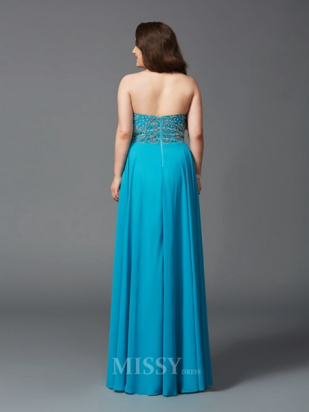A-Line/Princess Sweetheart Floor-Length Chiffon Plus Size Dress With Sash Beading