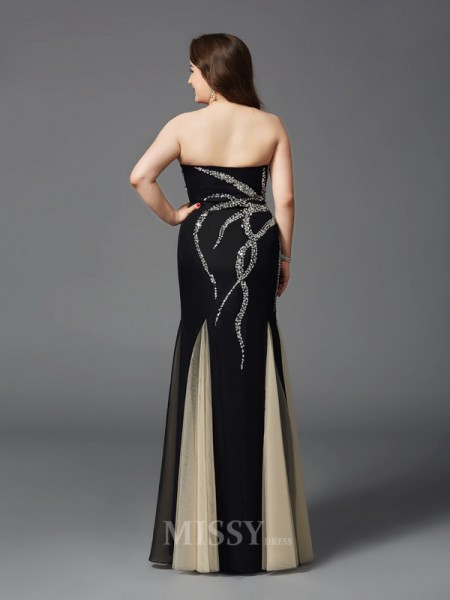 Sheath/Column Sweetheart Floor-Length Chiffon Plus Size Dress With Beading