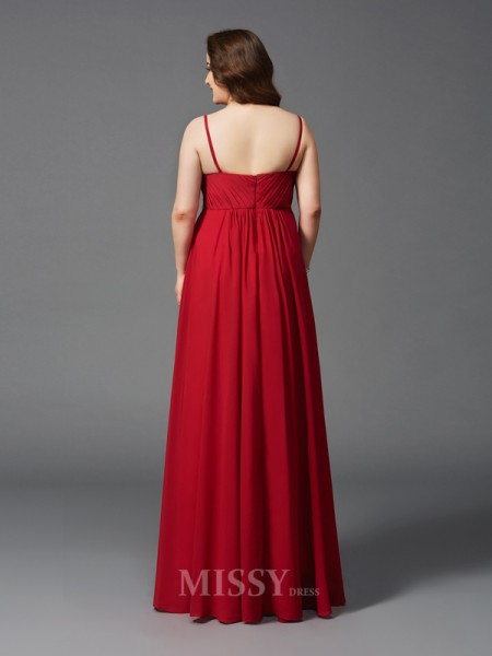 A-Line/Princess Spaghetti Straps Floor-Length Chiffon Plus Size Dress With Applique Beading