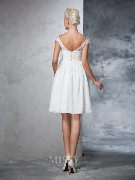A-Line/Princess Short Sleeves Sheer Neck Chiffon Knee-Length Wedding Dress With Applique