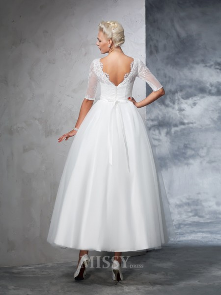 Ball Gown 1/2 Sleeves Bateau Net Ankle-Length Lace Wedding Dress With Rhinestone