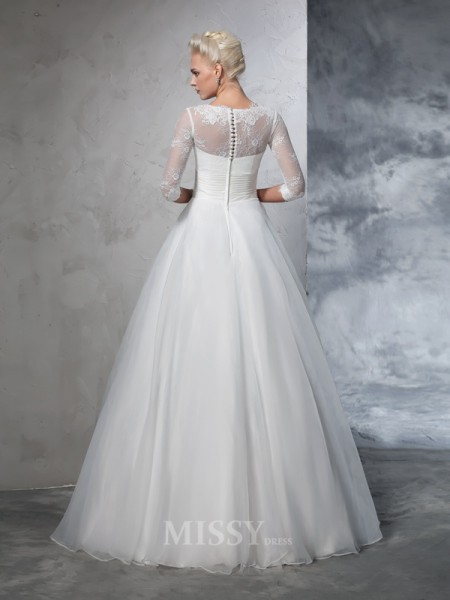 Ball Gown 3/4 Sleeves Jewel Organza Floor-Length Wedding Dress With Ruched Applique