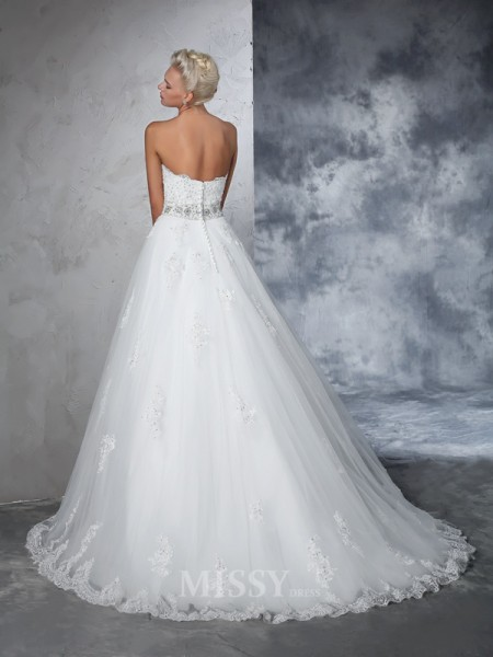Ball Gown Sweetheart Net Chapel Train Wedding Dress With Lace Applique