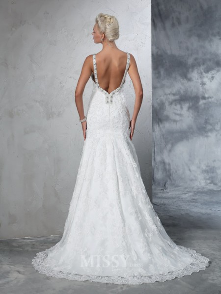 Trumpet/Mermaid Spaghetti Straps Lace Chapel Train Wedding Dress With Embroidery