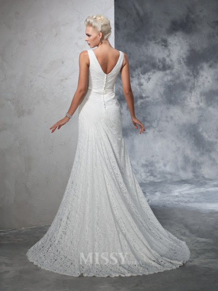 Trumpet/Mermaid V-neck Lace Court Train Wedding Gown With Sequin