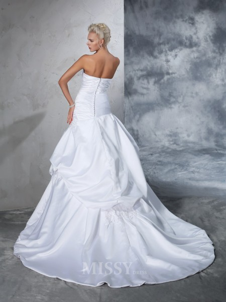 Ball Gown Strapless Satin Applique Chapel Train Wedding Gown With Pleats